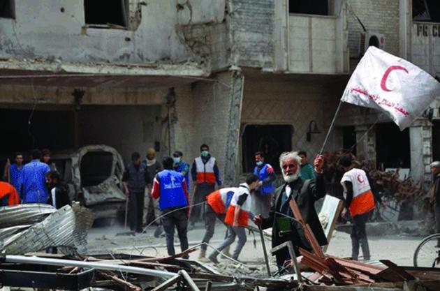 Photo de l'unique hôpital qui fonctionne encore à Yarmouk. Dr Moawia