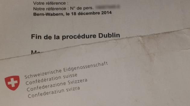 Courrier du Secrétariat des Migration Suisse annonçant une décision de non-entrée en matière au recourant.