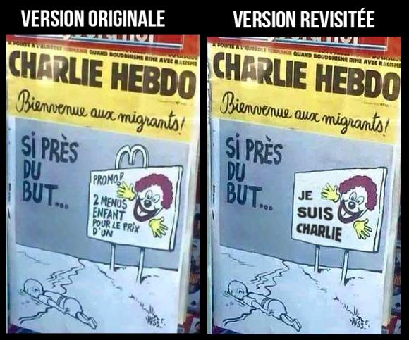 La Une de Charlie Hebdo revisitée par la rédaction vaudoise de Voix d'Exils.
